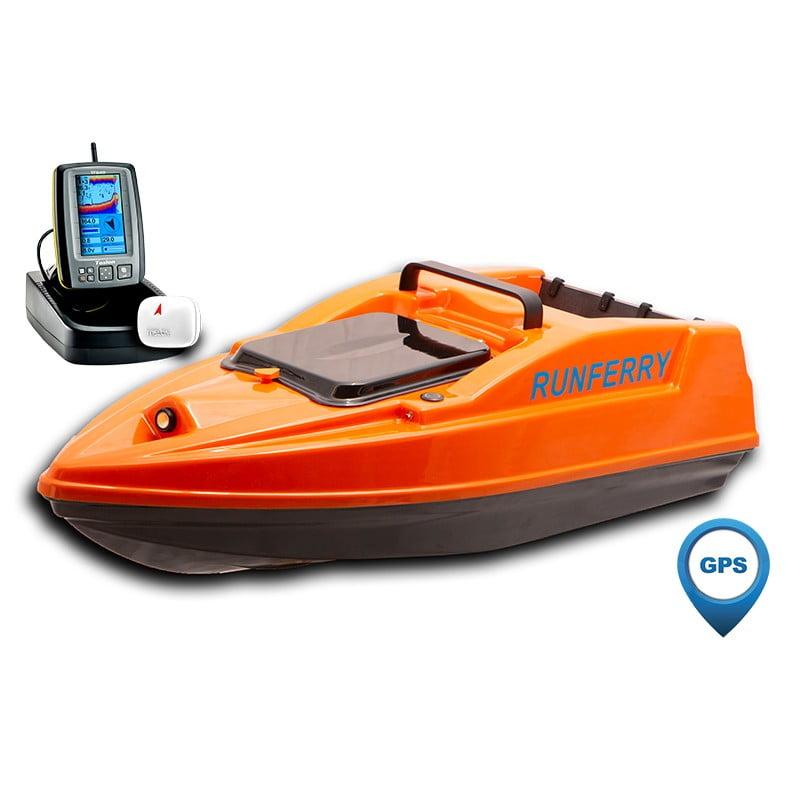 Купить кораблик Runferry Solo 2 оранжевый с GPS-автопилотом и эхолотом Toslon TF500